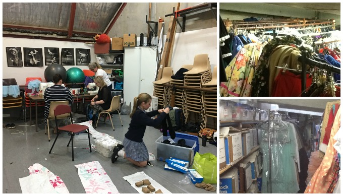 Backstage costume and set preparation